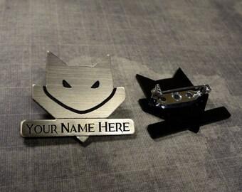 Customized Catmander acrylic laser cut brooch