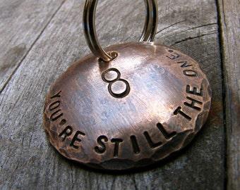 Custom Anniversary Keychain - Bronze Anniversary Keychain - Eighth Anniversary - Our Eighth - in Bronze