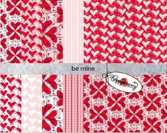 Be Mine: Digital Scrapbook Paper Pack (300 dpi) 9 digital papers Valentines Hearts Red Pink Love