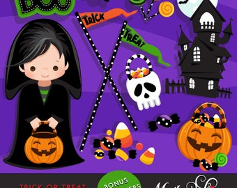 Halloween clipart. Trick or Treat Clipart with Halloween boy characters. Halloween Candy, bonbons, lollipops, haunted house, skull, boo