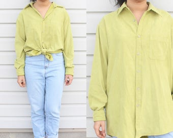 Lime Green Button Up Top Silk Blouse