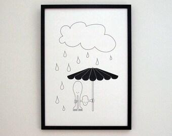 Childish art, Black white art, Umbrella art, wall art, nursery wall art, digital art prints