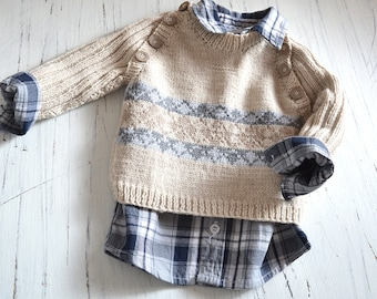 KNITTING PATTERN-Trendy little man's sweater - P091