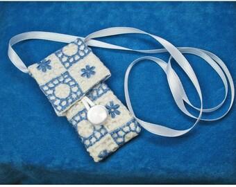 Slender Blue and White Amulet Bag Necklace