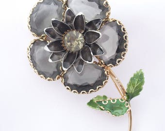 Vintage Flower Pin Brooch Large Glass Petals Gray and Green 1960s Flower Power Rhinestone Jewelry