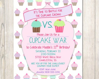 Cupcake War Birthday Invitation