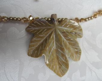 Tan Jasper Carved Leaf necklace, earrings depict the golden radiance of autumn