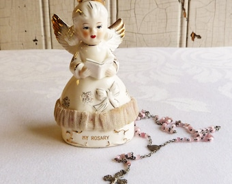 Mid-Century Angel Rosary Box with Rosary - Ceramic Angel Rosary Holder, Dresden Lace Trim - 1950s First Communion Gift - Rare, Hard to Find