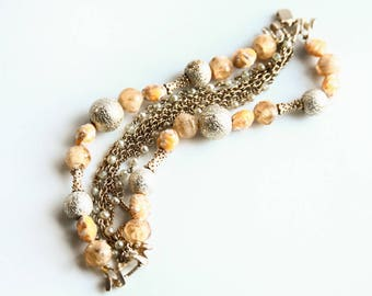 Vintage Kramer Multi-strand Bracelet ~ Gold tone and Faux Pearl ~ Orange / Peach toned Bracelet ~ Signed  Jewelry ~ Vintage Costume Jewelry