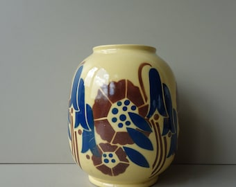 Art Deco vase French pottery Lunéville Faiencerie bluebells Special edition for Galeries Lafayette blue brown and beige