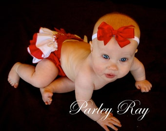 Beautiful Parley Ray Red and White Ruffled Baby Bloomers/ Diaper Cover / Photo Props