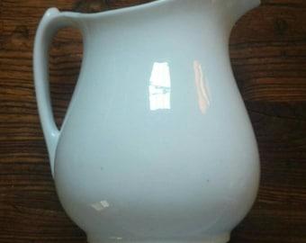 Antique English white ironstone pitcher. Marked H. Burgess. Burslem
