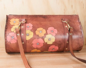 Cylinder Bag - Womens Leather Cross Body or Shoulder Bag in the Poppy Garden Pattern  - Antique Mahogany with Pink and Yellow