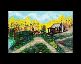 "Landscape Of ASPEN TREES Mountain CABIN Art Print By Scott D Van Osdol 11"" x 17"" Poster Of My Original Artwork Old Truck Colorful Nature"