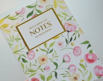 5x7 Pink Floral Notebook with Gold Foil Label
