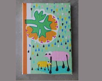 Lienzo artístico decoupage con flores y animales mágicos
