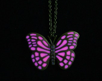 Pink Butterfly Necklace Glow In The Dark Necklace Pendant Antique Bronze