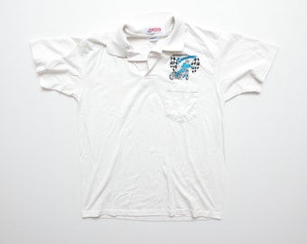 Vintage 90s Jerzees Champion Speedway Supercross Motorcycle Racing Pocket Polo Shirt White Size M