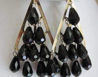 BLACK TEARDROP CHANDELIER Earrings