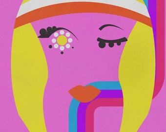 Hippie Girl Illustration Print