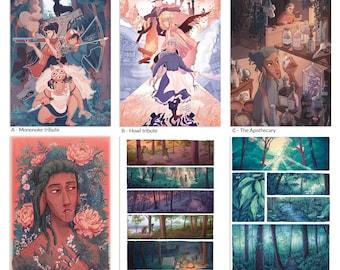 A4 Ghibli, nature & comic prints - bundle deals available - pick n mix