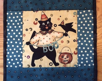 Halloween Quilted Wall Hanging or Table Topper with Boo Kitty Cat Primitive Wall Art Decor