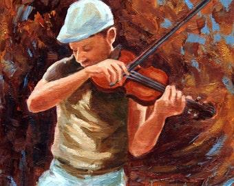 Figurative oil painting, 8 x 8, musician, impressionist, abstract, music, violin, jazz painting, original art by DJ Lanzendorfer