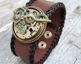Steampunk Fallen Angel Leather Cuff Bracelet -Watch parts Vintage Bracelets-Wristband cuffs- Amazing Girlfriend Ladies Gothic gift