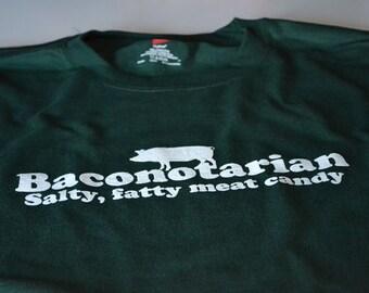 Funny Bacon Shirts for Men Baconotarian T shirt Salty Fatty Bacon Shirt for Him
