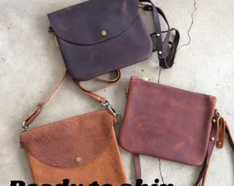 Reasy to ship Soft leather crossbody bag, zip top, adjustable leather strap, snap crossbody, small crossbody