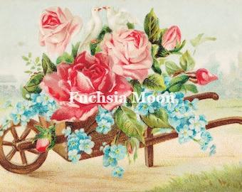 Digital Download : Beautiful Vintage Victorian Floral Valentine