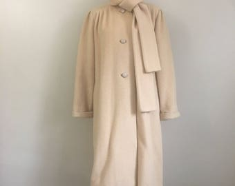 1960s Vintage Sycamore Wool Coat with Attached Scarf
