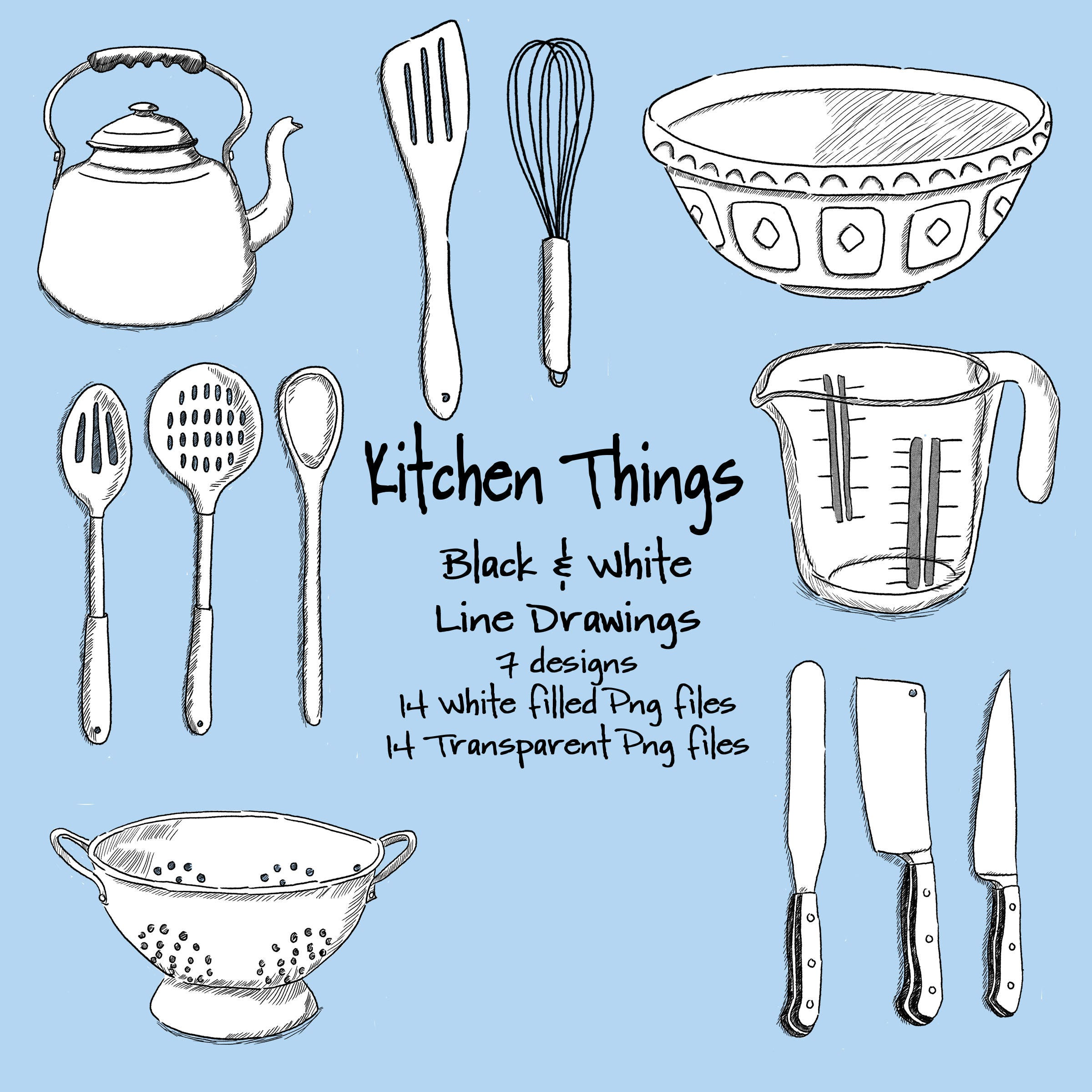 Kitchen Things Digital Line Drawings from BearsGetCrafty on Etsy Studio