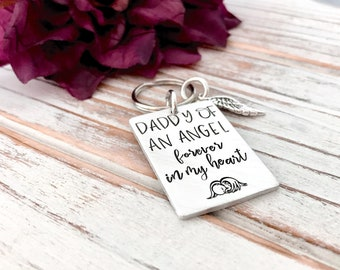 Daddy Of An Angel Rectangle Keychain Infant Loss Pregnancy Memorial Key Ring Accessory Baby Keepsake Miscarriage Grieving Father