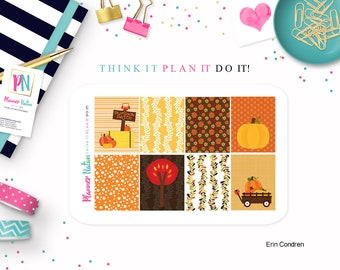 Planner Stickers Mini Kit Pumpkin Patch Background  Available for Erin Condren Life Planner Vertical ECLP