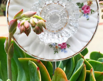 Eva • Mini Repurposed Potted Plant Vintage Crystal and China Glass Garden Flower • Yard Art Decor