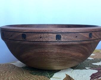 Black walnut bowl, woodburned trim
