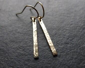 Gold filled dangle earrings, hammered bar earrings gold fill, minimalist jewelry, simple everyday earrings, geometric earrings, gift for her