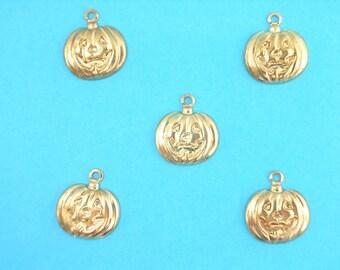 SET of 5 CHARMS METALS Gold: Pumpkin Halloween 12mm