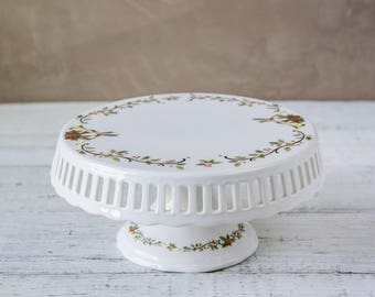 White Ceramic Cake Stand Christmas Motif-Food Photography Props