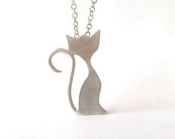 Silver cat necklace, kitty necklace, Sterling silver cat charm, Cat pendant necklace, teen necklace.