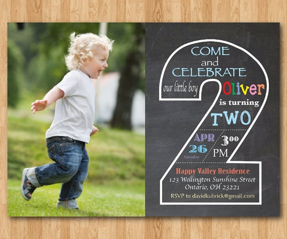 Printable Birthday Invitations For Boy ~ Chalkboard second birthday invitation with picture nd
