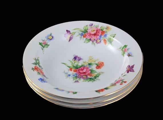 Fruit Bowls, Sango China, Dessert Bowls, Occupied Japan, Floradel, Floral Pattern, Multi-floral, Gold Trim, Set of 3
