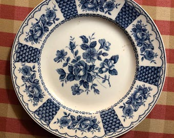 English Country Toile Staffordshire Floral Melody Plate