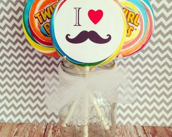 extra large i heart mustache bash lollipop stickers, mustache birthday stickers--set of 12