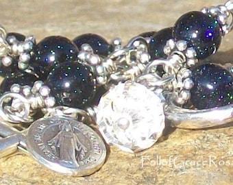Blue Sparkle Rosary Bracelet, Miraculous Medal, Crucifix, Unbreakable, Catholic, Gemstone, Wire-wrapped