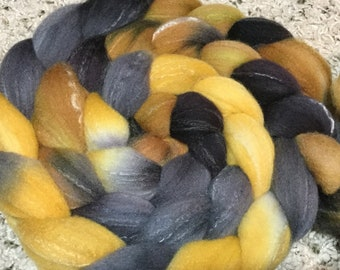 Targhee/Silk/Bamboo (80/10/10) Combed Top Spinning Fiber - Hand Painted - Feltable - approx. 4 ounces - BLACK GOLD