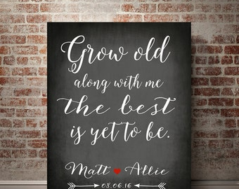 Grow old with me the best is yet to be Romantic gifts bedroom decor typography art stretched canvas print mr and mrs gift gift for couple