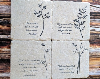 Words of Wisdom Stone Coaster Set, Scripture, Natural Tumbled Stone, Flowers, Plants, Herbs, Scripture, Christian, Inspirational Quotes