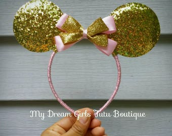 Pink and gold Minnie mouse ears, pink and gold Minnie mouse headband, Minnie mouse birthday headband, Minnie mouse gift, mouse ears for baby